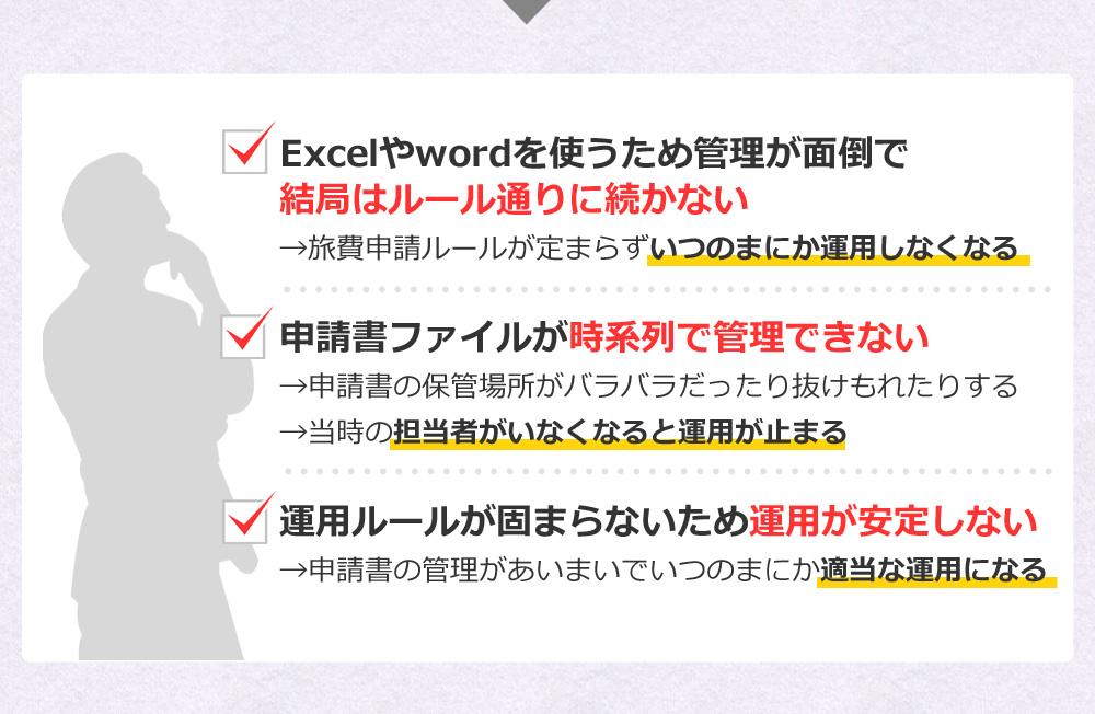 Excelやwordを使うため管理が面倒で結局はルール通りに続かない→旅費申請ルールが定まらずいつのまにか運用しなくなる 申請書ファイルが時系列で管理できない→申請書の保管場所がバラバラだったり抜けもれたりする→当時の担当者がいなくなると運用が止まる 運用ルールが固まらないため運用が安定しない→申請書の管理があいまいでいつのまにか適当な運用になる
