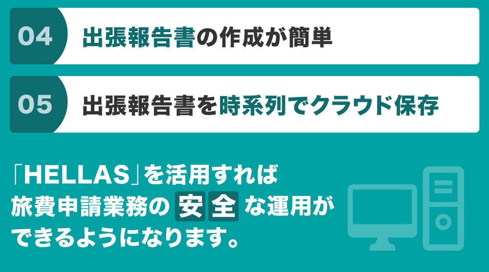 出張報告書の作成が簡単 出張報告書を時系列でクラウド保存 「Hellas」を活用すれば旅費申請業務の安全な運用ができるようになります。