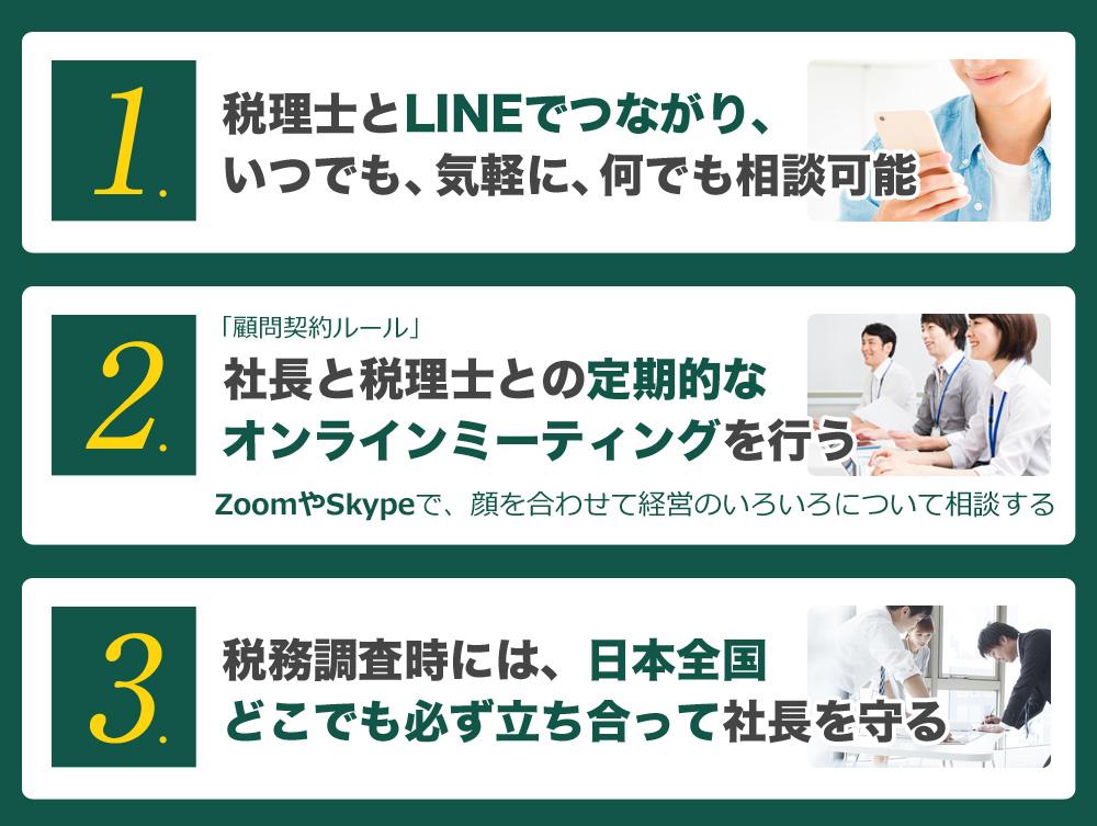 税理士とLINEでつながり、いつでも、気軽に、何でも相談可能  社長と税理士との定期的なオンラインミーティングを行う 税務調査時には、日本全国どこでも必ず立ち合って社長を守る